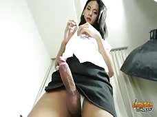 Asian Shemale With Big Cock In White Thong Panties