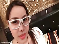 Nerdy Asian Ladyboy Grace Ready for Bareback