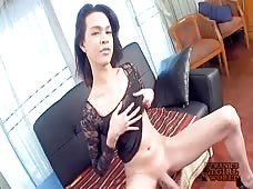 Stroking Hung Cock Of Ladyboy Alice