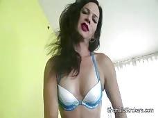 Horny Brunette TS Gina Hart Strokes Her Cock Hard