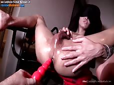 Blindfolded Ladyboy Sex Chair